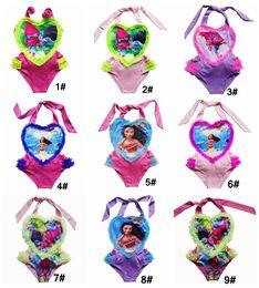 Wholesale Girls Swimsuit Heart - 10 styles Moana trolls Girls One-Pieces Swimsuit children cartoon lace heart Swimwear Moana printing Bikini kids bathing suit DHL fast ship