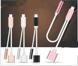 Wholesale Iphone Audio Adapter Cable - 2 in 1 Charge and Audio Iphone 7 Earphone Headphone Jack Adapter Connector Cable 3.5mm Aux Headphone Jack compatible ios10.3