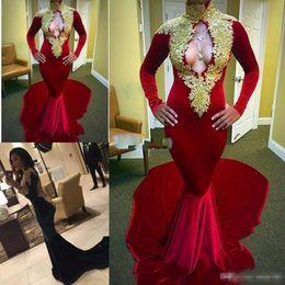 2019 afrikanische spitze samt Elegante Lange Prom Kleider 2017 Sexy High Neck Mädchen Schwarz Backless Mermaid Samt Burgund African Prom Dress gold spitze