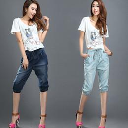 Wholesale Ladies Capri Trousers - Wholesale- Ladies 3 4 Jeans Elastic Waist Cropped Denim Pants Capri Bottoms Capri Trousers Summer Pants For Women Bleached Denim Capris