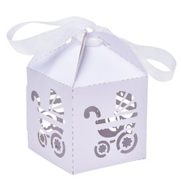 Wholesale Bomboniere Baby Shower - Party Gift Holder Baby Shower Candy Boxes with Ribbon Carriage Shape Shower Favor box For Bomboniere Wedding Anniversary