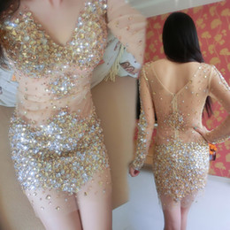 Wholesale Transparent Short Piece Dress - Free Shipping!Custom Made Actual Image Champnge Short Mermaid Evening Dress Full Sleeve Sexy Transparent Evening Dresses Party Gowns