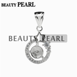 Wholesale Sterling Pendant Mounting - 2 Pieces Star Pendant Settings 925 Sterling Silver Cubic Zirconia Pendant Semi Mounting for Pearl Jewelry