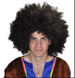 Wholesale Short Brown Men Curly Wig - Xiu Zhi Mei 200g Brazil soccer fan's wigs afro wigs Men Afro Fans Wigs Bulkness Christmas Halloween Carnival Party Short Curly Cosplay Wig