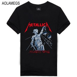 Wholesale Men Clothing Heavy - Aolamegs Men T shirt Fashion Short-sleeve Heavy Metal Black Color Printed Rock Band T shirts Homme Cotton O-neck Tops Clothing
