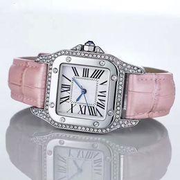 Wholesale Pink Gem Stones - Fashion Luxury Watches Unisex Women Men Watch Silver Square Diamonds Bezel Leather Strap Top Brand Sport Quartz Wristwatches for Men Lady