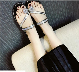 Wholesale Diamonds Sandals Flat Shoes - 2017 new luxury diamond female summer Liang skin low-heeled sandals flat heel with toe cool slippers Roman women's shoes