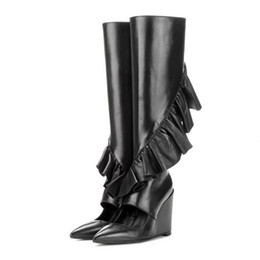 Wholesale Long White Boots For Women - Fashion Side Zipper Botas Mujer Cut Outs Wedges Pointed Toe Fringe Tassel Ruffles Long Boots Street Snap Booties For Women