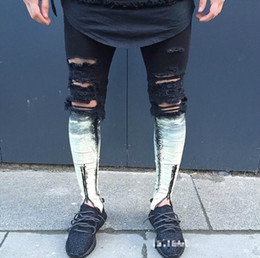 Wholesale Skinny Leg Patterned Pants - Wholesale- Knee position following dyed white Knee Hole male Trouser Leg Zipper 2017 Biker Jeans Men Slim Skinny Destroyed Torn Jean Pants