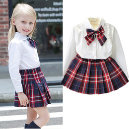 Wholesale White Plaid Shirts For Girls - Wholesale- 3T-7T Autumn Spring Casual Plaid Girls Clothing Sets Children Princess Suit for Girls Kids Clothes White Shirt+Skirt