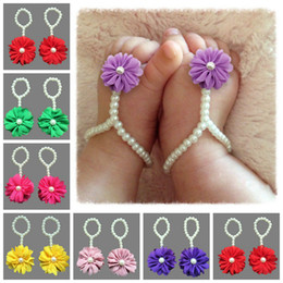 Wholesale Shoes Chiffon Flowers - Pearl Anklet for Baby Sweet Flower Chiffon Baby Shoes Newborn Girls Anklet Foot Ring Feet Jewelry