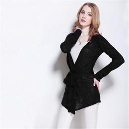 2019 cardigan con cintura nera Cardigan nero donne maglione primavera autunno coreano donna casual lungo lavorato a maglia allentato con paillettes maglione vestidos cardigan cardigan con cintura nera economici