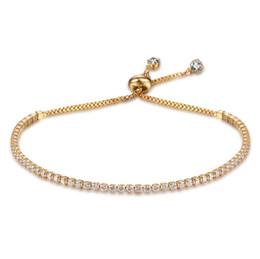Brazalete de loto online-Pulsera ajustable Puños Crystal Charm Bangle European Jewelry Lotus Half Bar CZ Pulseras de cadena Joyería de mujer Regalo de Navidad