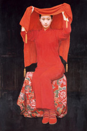 Wholesale Young Girl Oil Paint - Framed young beauty girl Chinese Bride Wearing festive red dress,100% Handcrafts portrait Art Oil painting canvas,Multi sizes Available P010