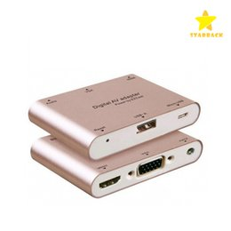 Wholesale Tv Av Cables - Aluminum Alloy Multifunction Conversion Phone PC to HDMI HDTV TV VGA Video Audio Digital AV Adapter for iphone Samsung