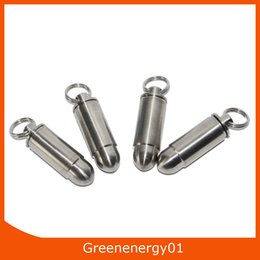 Wholesale Container Charms - Water proof Titanium Bullet Necklace Charm Pendant  Titanium Capsule Container