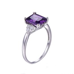 Wholesale Emerald Cut Amethyst Ring - Vintage Jewelry 5.25ct Amethyst 925 Sterling Silver Ring emerald Cut Purple Nature stone Women Wedding Anel Aneis Gemstone Rings