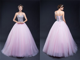 Wholesale Girls Strapless Pageant Dress - Sweetheart Lilac Sweet 16 Quinceanera Dresses Sequins Back Lace up Big Girls 15 Birthday Party Prom Pageant Celebrity Evening Catwalk Gowns