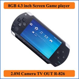 Wholesale Mp3 Player Gift Box - Real 8GB 4.3 inch LCD Screen MP3 MP4 MP5 PMP Player +Game + Camera +TV OUT+ Game Console in Gift box E-book FM Photo Video Game Player R-826