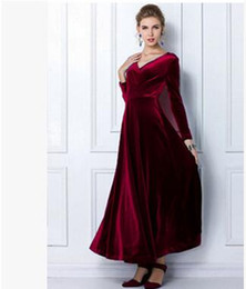 Wholesale Red Tunic Long Sleeve - Women Wine Redding Fits Flared Dresses Velvet Warm Dress XXL 3XL Dresses Plus size Winter Ankle Length Maxi Casual Tunics Robes