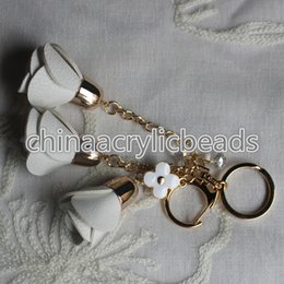 Wholesale Cartoon Handmade Keychain - Wholesale Handmade Vintage PU Leather Rose Flower Fringe Tassel Keychain For Handbags Charm Keychains