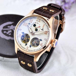 Wholesale Rose Gold White Leather Watch - New Model Luxury Two Tourbillon Automatic Sport Men's watch Big Rose Gold white Dial 46mm Brown Real leather Strap Top grade Man watches
