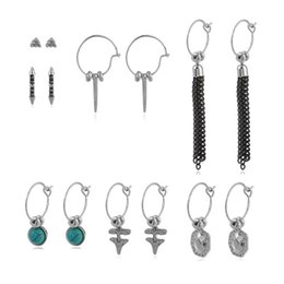 Wholesale Mix Match Earrings - European and american style mix and match earrings for women fashion link chain earrings sets jewelry accessories