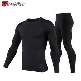 Wholesale Uv Soft - HEROBIKER Mens Motorcycle Riding Quick dry Clothing, Winter Thermo Underwear Soft Comfortable Stretch Long Sleeve ,T001