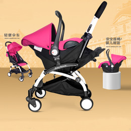Wholesale Baby Carriages Buggies - Wholesale- 4 in 1 Portable Baby Stroller Infant Car Seat Safety Chair Basket Baby Cradle Carriage Pram By for Travelling