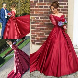 Wholesale Pretty Bridesmaids Dresses Red - Vintage Long Sleeves Prom Evening Dresses Dark Red V Neck Pretty Off Shoulders 2018 Bridesmaids Dresses Arabic Robe de soriee