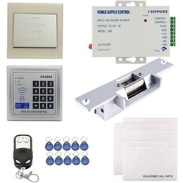 Wholesale Electric Lock Remote Control - 125KHz RFID ID Keyfobs One Door Access Control Kit Electric Strike Lock with remote handle