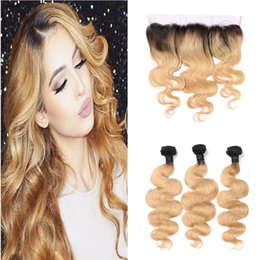 Wholesale Two Color Frontal Closure - Two Tone 1B 27 Dark Roots Ombre Virgin Human Hair Body Wave Bundles With 13*4 Honey Blonde Ear to Ear Lace Frontal Closure
