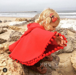 Wholesale Baby Canvas Hat - Everweekend Girls Tassels Red Cape Poncho Jackets Christmas Baby Children Outwears with Hats Western Fashion Clothing