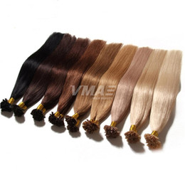 Wholesale Double Drawn 1g Hair Extensions - Fusion Pre Bonded U Tip Double Drawn Human Hair Extension Colorful Nail Hair Brazilian Natural Keratin 1g strand 18-30inch Real Human Hair