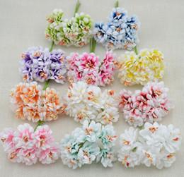 Wholesale Craft Bouquet - Wholesale- 6pcs Fake Flower Silk Gradient Stamen Handmake Artificial Flower Bouquet Wedding Decoration DIY Wreath Gift Scrapbooking Craft