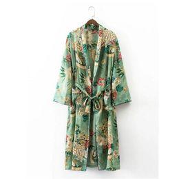 Wholesale Ethnic Print Shirt - Wholesale- 2017 Ethnic Flower Print with sashes Kimono Shirt Retro New Bandage Cardigan Blouse Tops blusas chemise femme blusa