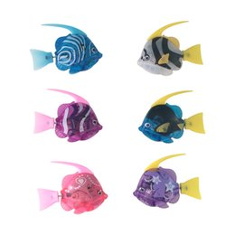 Wholesale Fishing Games For Kids - Free Shipping 6 Colors Clown Fish Kids Silver Bath Toys Electronic Robo Fish Pets Robotic Fish Gifts Item for Children