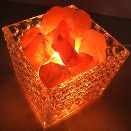 Wholesale Crystal Cube Lamps - Creative Cube Salt Lamp Himalayan European Decorative Small Night Lamp Bedside Bedroom Cozy Creative Nightlights for Garden Home