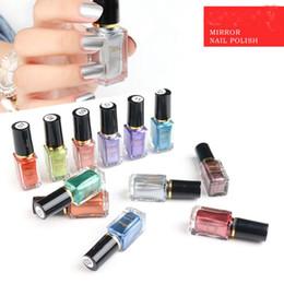Wholesale Nail Varnishes - 12 colors 6ml Mirror Effect Chrome metal mirror Nail Art Varnish Polishn stock DHL shipping