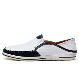 Wholesale Scarpe Uomo - mens genuine leather shoes men luxury loafers white scarpe uomo estive handmade italian stitching driving loafers blue