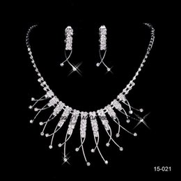 Wholesale Stocking Beautiful - Cheap In Stock Beautiful Free Shipping Wedding Jewelry Sets Silver Plated Necklace Earrings Sets Rhinestone Wedding Accessories 15021
