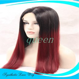 Wholesale Glueless Full Lace Wig Synthetic - hotsale ombre black red Lace Front Wig Full Lace Wigs Heat Resistant Fiber Hair Glueless Straight Synthetic Lace Front Wig For Black Women