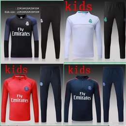 Wholesale Suits Kids Boys White - 2017 kids Real Madrid survetement football tracksuits 2018 Ronaldo Verratti Long pants wear Paris Neymar JR kids training suit jacket kit