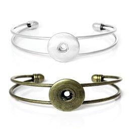 Wholesale Metal Snap Press - Antique Bronze Sliver Noosa Chunk Snap Button Bracelet Metal Alloy Bracelet Press Stud Ginger Snaps Jewelry Fit 18mm Snap Free DHL N311L