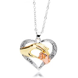 Wholesale Hand Heart Necklace - New hot necklaces for women Heart-shaped pendant necklaces double three-color gold hand necklaces Mother's Day Gift