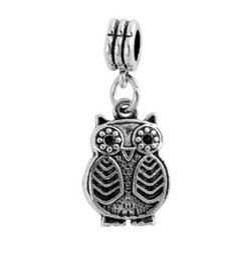Wholesale Owl Bead Enamel - Hot 30pcs Cute Owl Crystal Enamel Charm Silver European Charms Bead Fit Pandora Bracelets Snake Chain Fashion European DIY Jewelry Finding