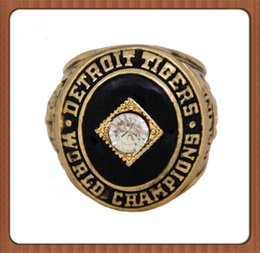 Wholesale Detroit Ring - Bottom Price Replica Fashion 1968 Detroit Tigers World Championship Ring Gold Plated World Series Alloy Rings