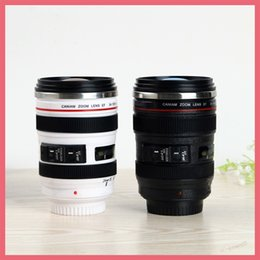 Wholesale Thermal Lens Mug - Shipping Free 6 Generation Stainless Steel Liner Travel Thermal Coffee Camera Lens Mug Cup Mugs Cups 400ML Black White 161205