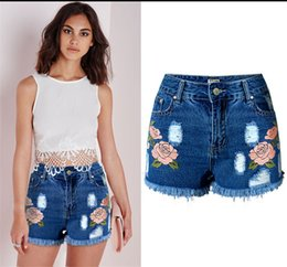 Wholesale Cute Blue Jeans For Women - Ripped High Waisted Jeans shorts For Women Summer Blue Skinny Cute Denim Shorts Womens Cotton Embroidery Shorts With Pockets Big Size XXL