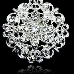 Wholesale White Flower Pins Brooches - New fashion Huge Flower Stunning Clear Crystal Brooch Jewelry Wedding Bouquet Huge Broaches Pins hot wholesale